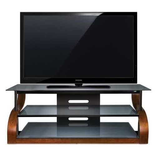 Bello Curved Wood And Black Glass Tv Stand For 73 Inch Screens Within Current Black Glass Tv Stands (View 13 of 20)