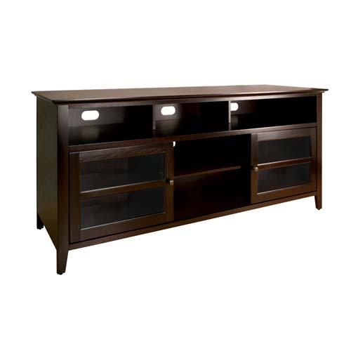 Bello No Tools Assembly 65 Inch Wood Tv Cabinet Dark Espresso For Latest Dark Wood Tv Cabinets (View 4 of 20)