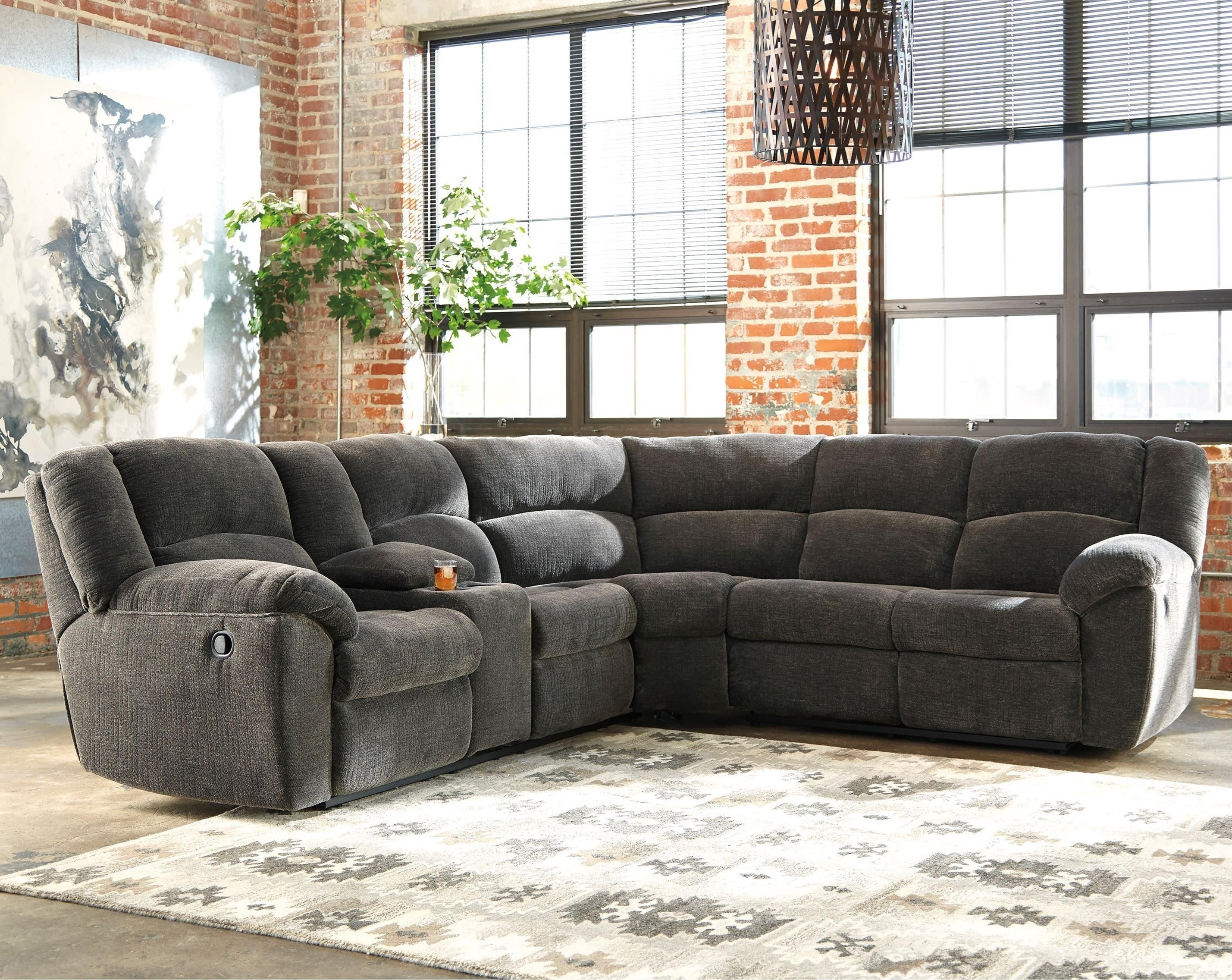 Benchcraft Timpson Reclining Sectional With Storage Console In Recliner Sectional Sofas (Image 3 of 22)