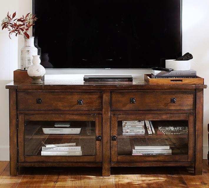 Benchwright Tv Stand, Small | Pottery Barn Within Latest Mahogany Corner Tv Stands (Image 4 of 20)