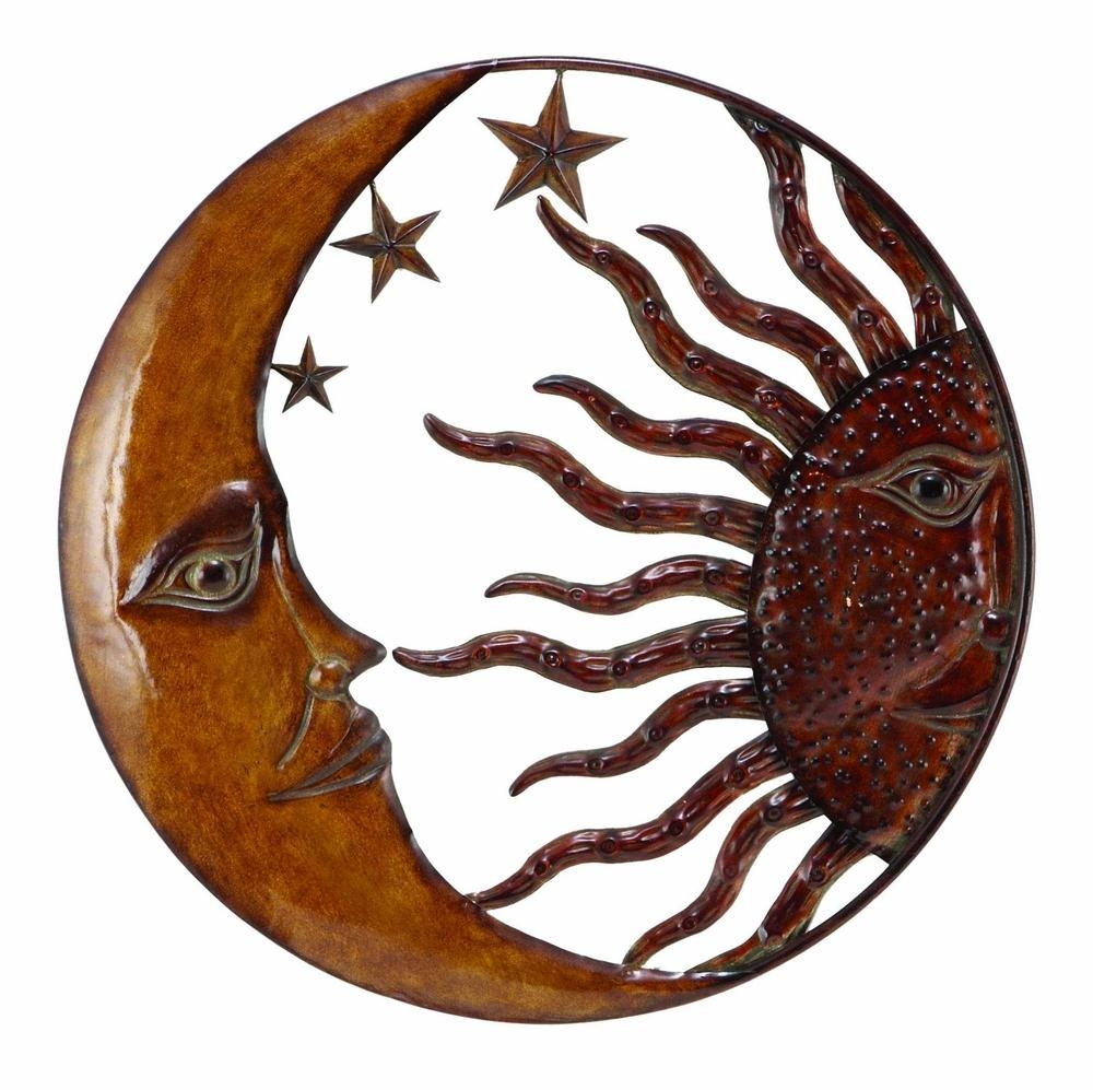 Benzara 63767 Copper Sun Moon & Star Wall Art Décor At Throughout Sun And Moon Metal Wall Art (Image 9 of 20)