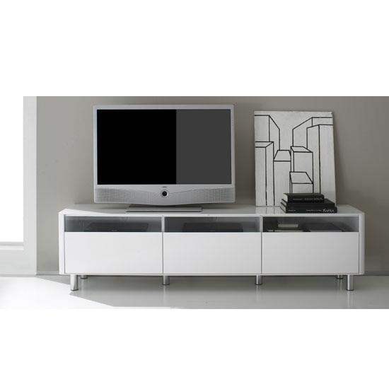 Berwick Large White High Gloss Finish Lowboard Plasma Tv Throughout Most Up To Date Large White Tv Stands (Image 4 of 20)