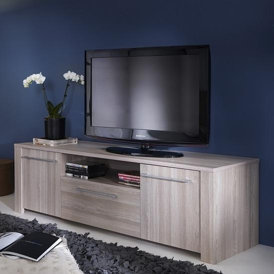 Berwick Wooden Tv Stand In Shannon Oak With 2 Doors 28411 Throughout 2018 Grey Wood Tv Stands (Image 8 of 20)