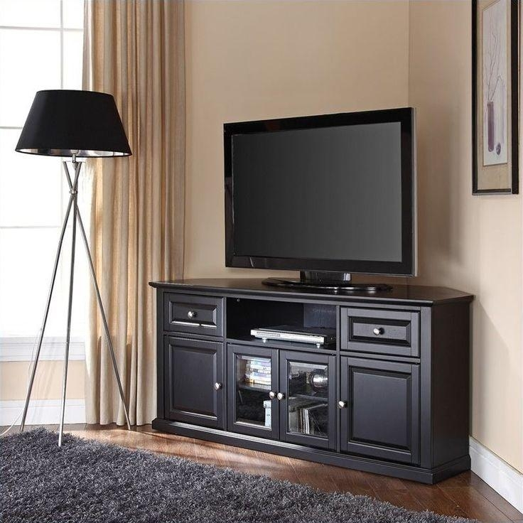 Best 25+ Black Corner Tv Stand Ideas On Pinterest | Tv Stand For Most Popular Large Black Tv Unit (View 14 of 20)