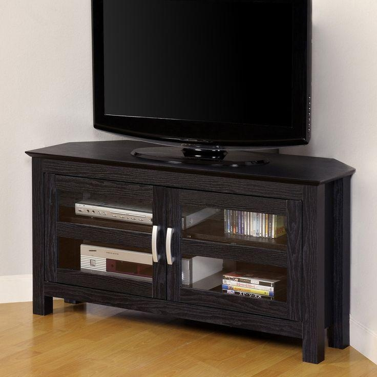 Best 25+ Black Corner Tv Stand Ideas On Pinterest | Tv Stand With Most Up To Date Corner Tv Cabinets With Glass Doors (Image 5 of 20)