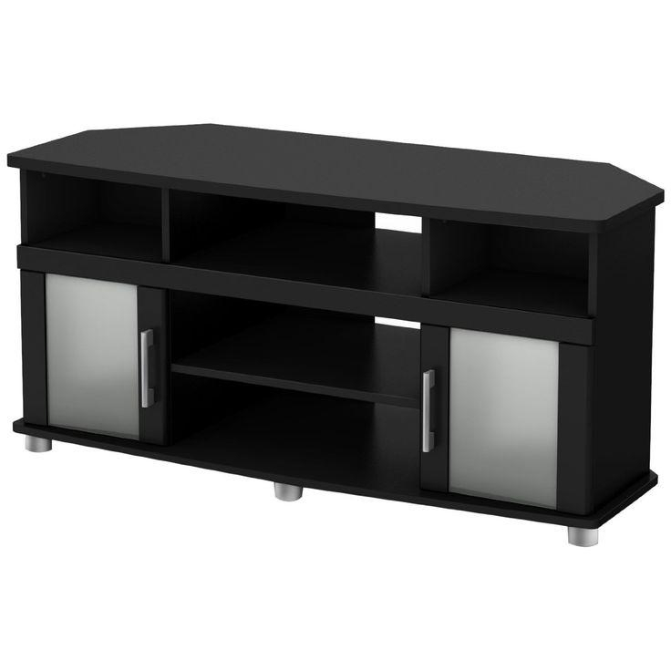 Best 25+ Black Corner Tv Stand Ideas On Pinterest | Wood Corner Tv Throughout Best And Newest Black Tv Stand With Glass Doors (Image 4 of 20)