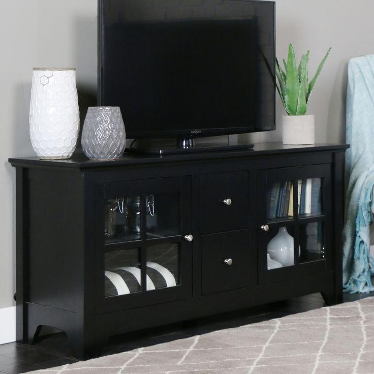 Best 25+ Black Tv Stand Ideas On Pinterest | Ikea Tv Stand, Ikea Pertaining To Best And Newest Wooden Tv Cabinets With Glass Doors (Image 5 of 20)
