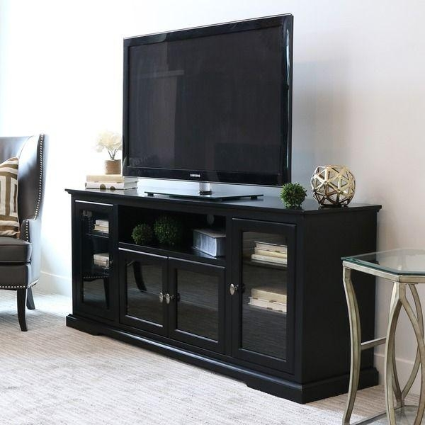 Best 25+ Black Tv Stand Ideas On Pinterest | Tv Stand Bookshelf For Most Up To Date Black Tv Stand With Glass Doors (Image 5 of 20)