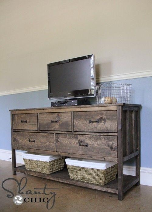 Best 25+ Dark Wood Tv Stand Ideas On Pinterest | Tvs For Dens For Recent Dresser And Tv Stands Combination (View 5 of 20)