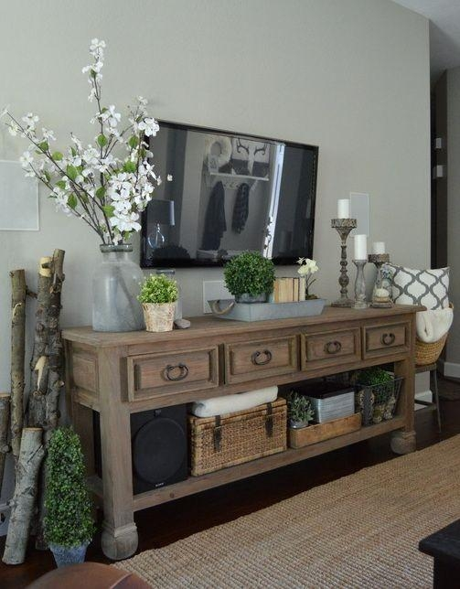 Best 25+ Tv Console Decorating Ideas On Pinterest | Tv Stand Decor Pertaining To 2018 Console Under Wall Mounted Tv (View 6 of 20)