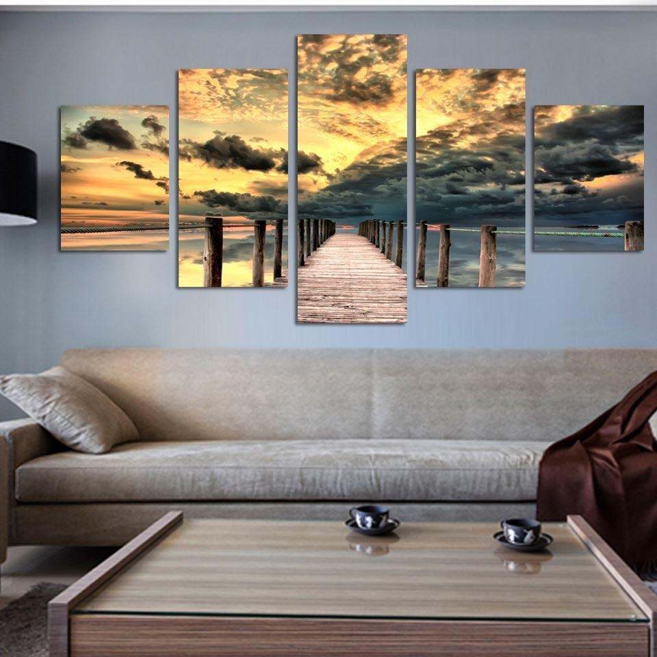 Best Seascape Wall Art Wooden Bridge Painting On Canvas Sunset Inside Five Piece Wall Art (View 15 of 20)