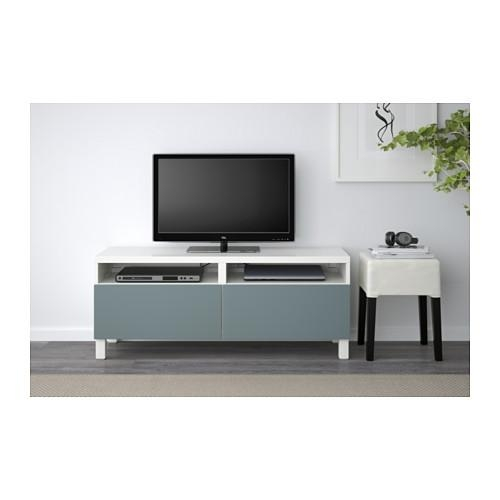 Bestå Tv Bench With Drawers White/valviken Grey Turquoise With Most Current Tv Drawer Units (View 1 of 20)