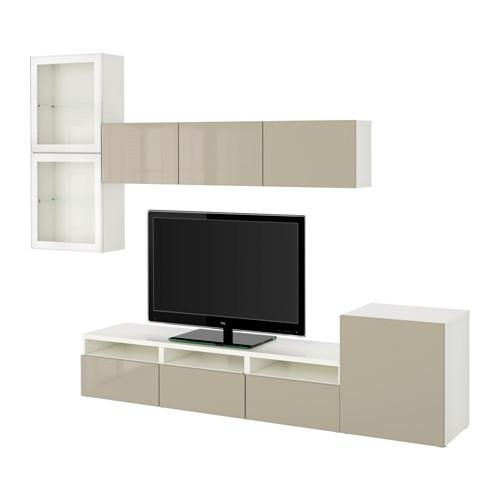 Bestå Tv Storage Combination/glass Doors – White/selsviken High With Regard To 2017 Ikea White Gloss Tv Units (View 20 of 20)