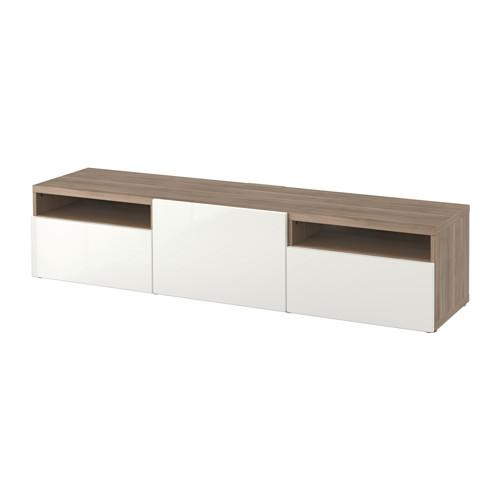 Bestå Tv Unit – Walnut Effect Light Gray/selsviken High Gloss Inside Most Popular Ikea White Gloss Tv Units (Image 9 of 20)