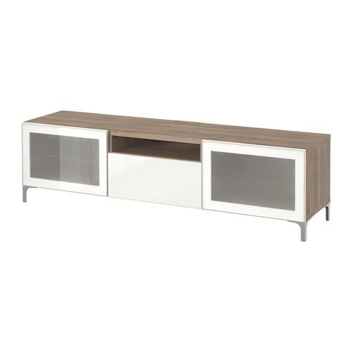 Bestå Tv Unit – Walnut Effect Light Gray/selsviken High Gloss Intended For 2017 Ikea White Gloss Tv Units (View 9 of 20)
