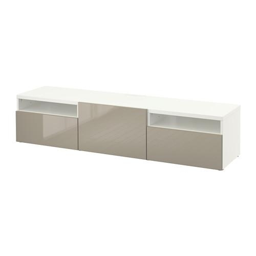 Bestå Tv Unit – White/selsviken High Gloss/beige, Drawer Runner Within Most Recent Ikea White Gloss Tv Units (Image 11 of 20)