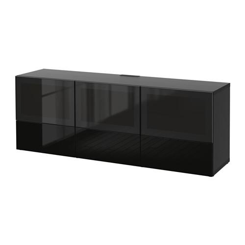 Bestå Tv Unit With Doors And Drawers – Black Brown/selsviken High With Regard To Most Up To Date Glass Tv Cabinets With Doors (View 18 of 20)