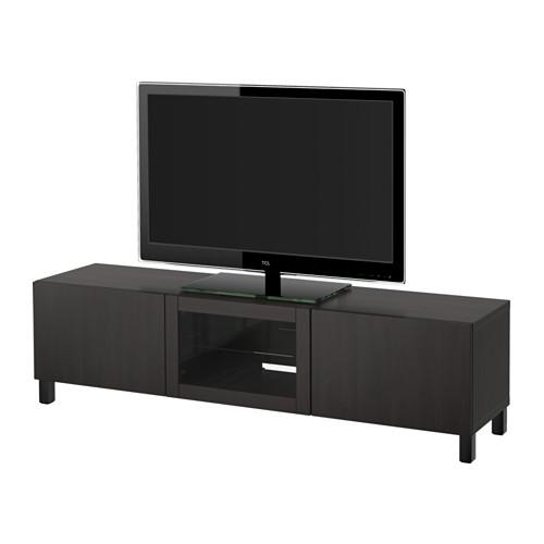 Bestå Tv Unit With Drawers And Door – Lappviken Black Brown Clear Pertaining To 2018 Black Tv Cabinets With Drawers (Image 13 of 20)