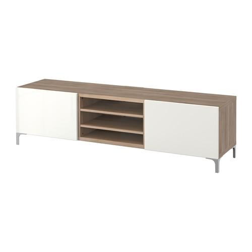 Bestå Tv Unit With Drawers – Walnut Effect Light Gray/selsviken For Recent Ikea White Gloss Tv Units (Image 15 of 20)