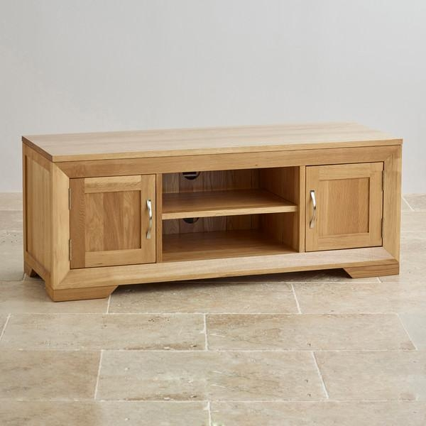 Bevel Natural Solid Oak Widescreen Tv + Dvd Cabinet In Most Up To Date Solid Oak Tv Cabinets (Image 4 of 20)