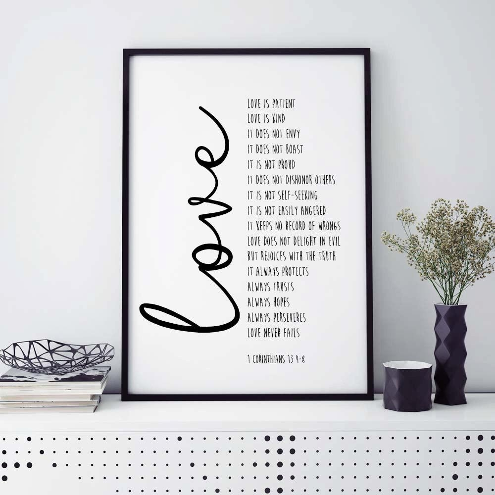 Bible Verse Print Love Is Patient 1 Corinthians 13 Intended For 1 Corinthians 13 Wall Art (View 8 of 20)