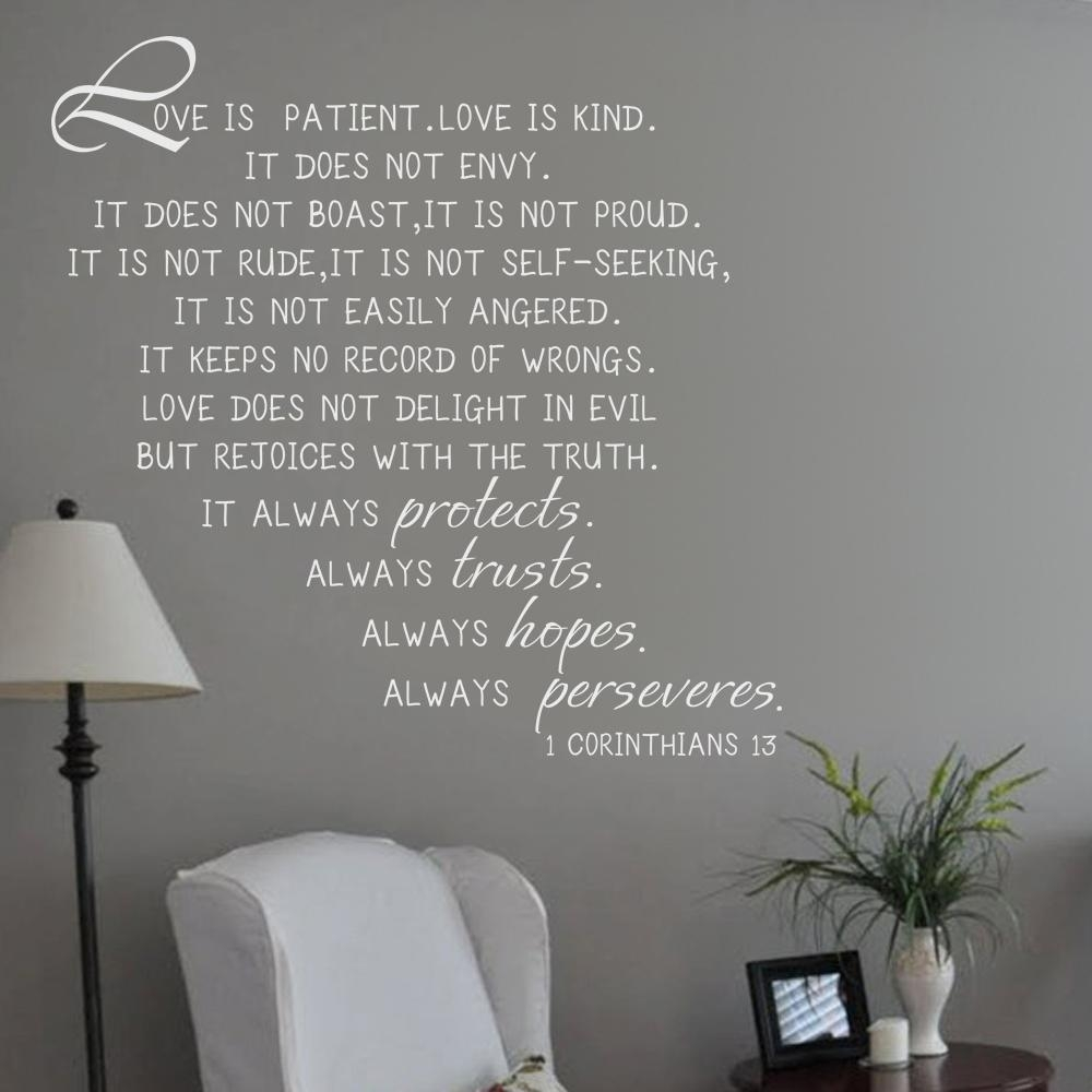 Bible Verse Wall Decals Picture – More Detailed Picture About Love In 1 Corinthians 13 Wall Art (Image 7 of 20)