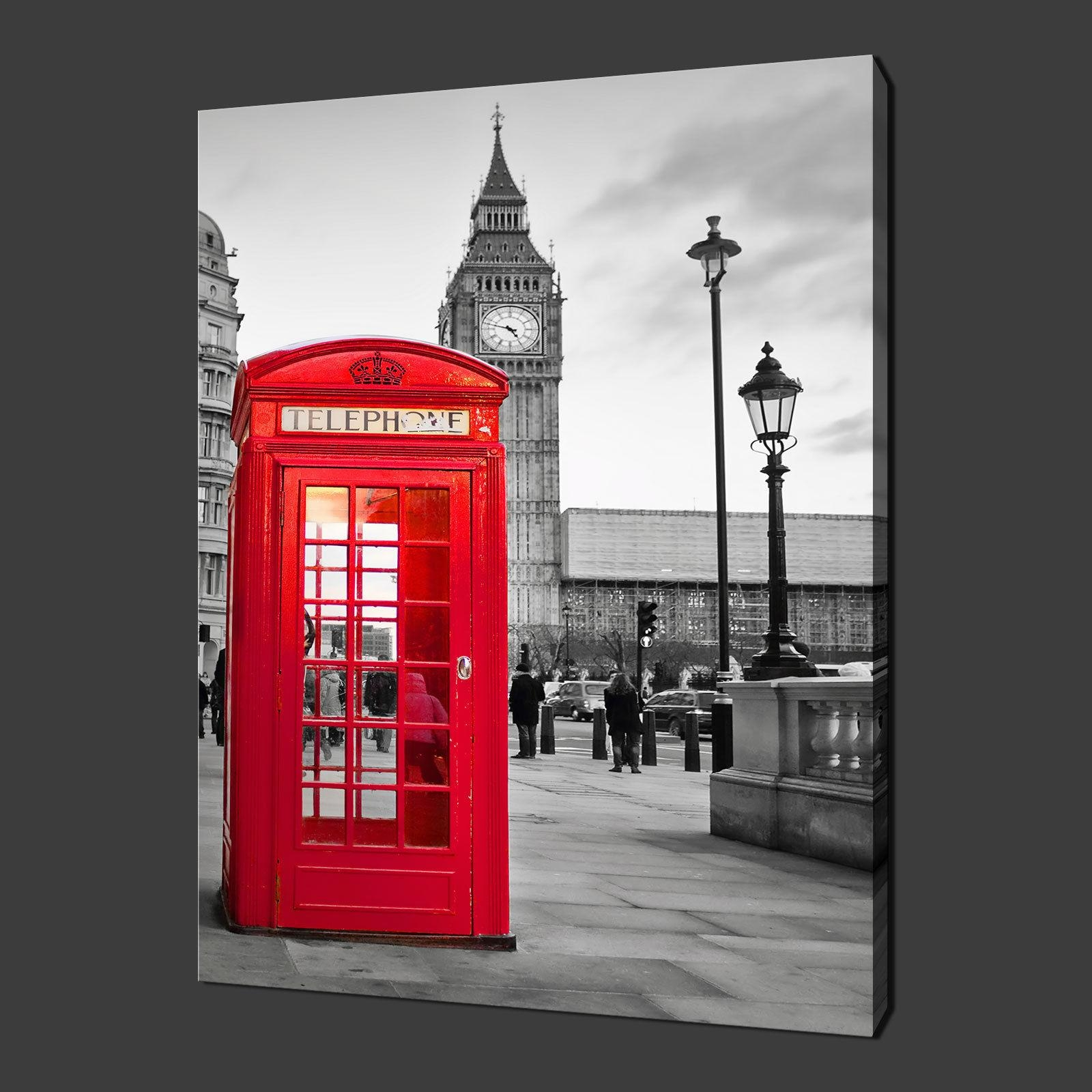 Big Ben Red Phone Box London Canvas Wall Art Pictures Prints 20 In Red And Black Canvas Wall Art (Image 7 of 20)