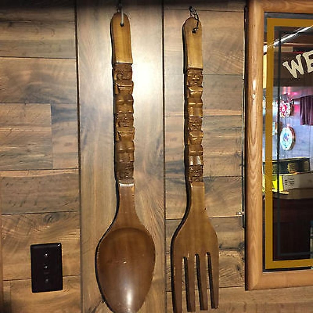 Big Large Tiki Carved Wood Wooden Huge Fork And Spoon Wall Hanging Regarding Wooden Fork And Spoon Wall Art (View 13 of 20)