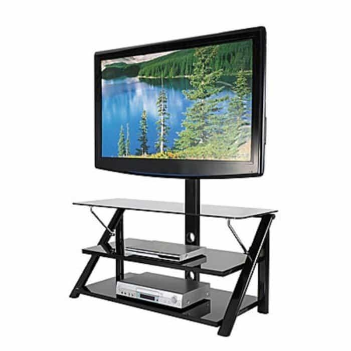 Big Lots Living Room Furniture Tv Stand 44In Black Glass Tv Stand For Most Popular Swivel Black Glass Tv Stands (View 4 of 20)
