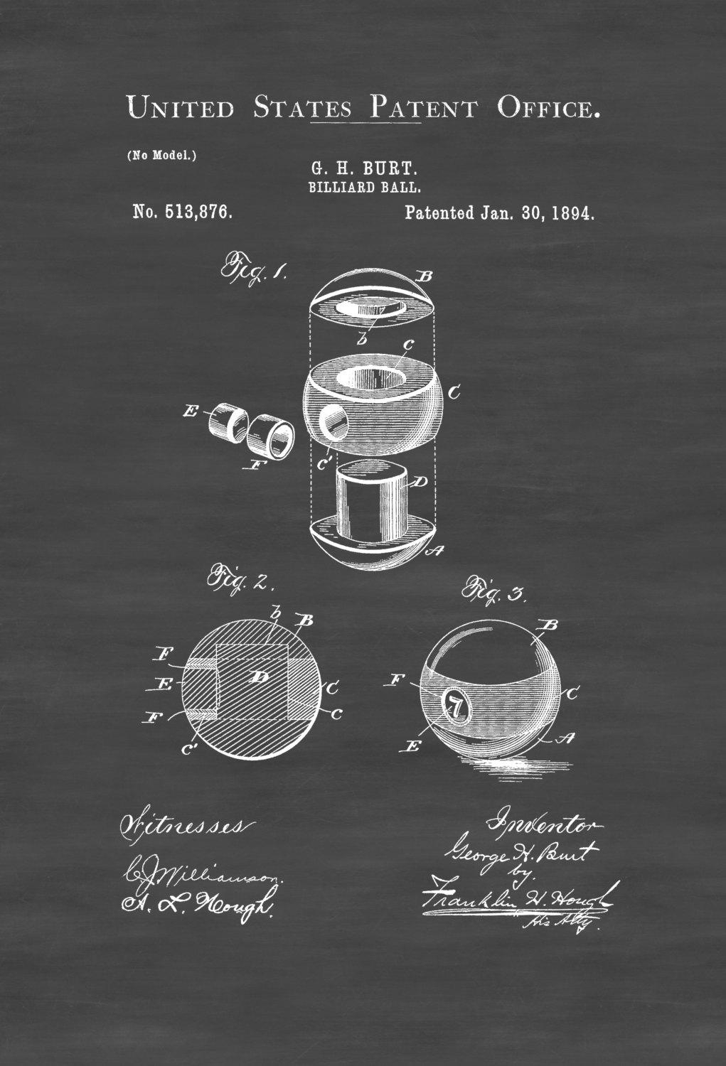 Billiard Ball Patent 1894 – Patent Print, Wall Decor, Pool Table Intended For Billiard Wall Art (View 6 of 20)