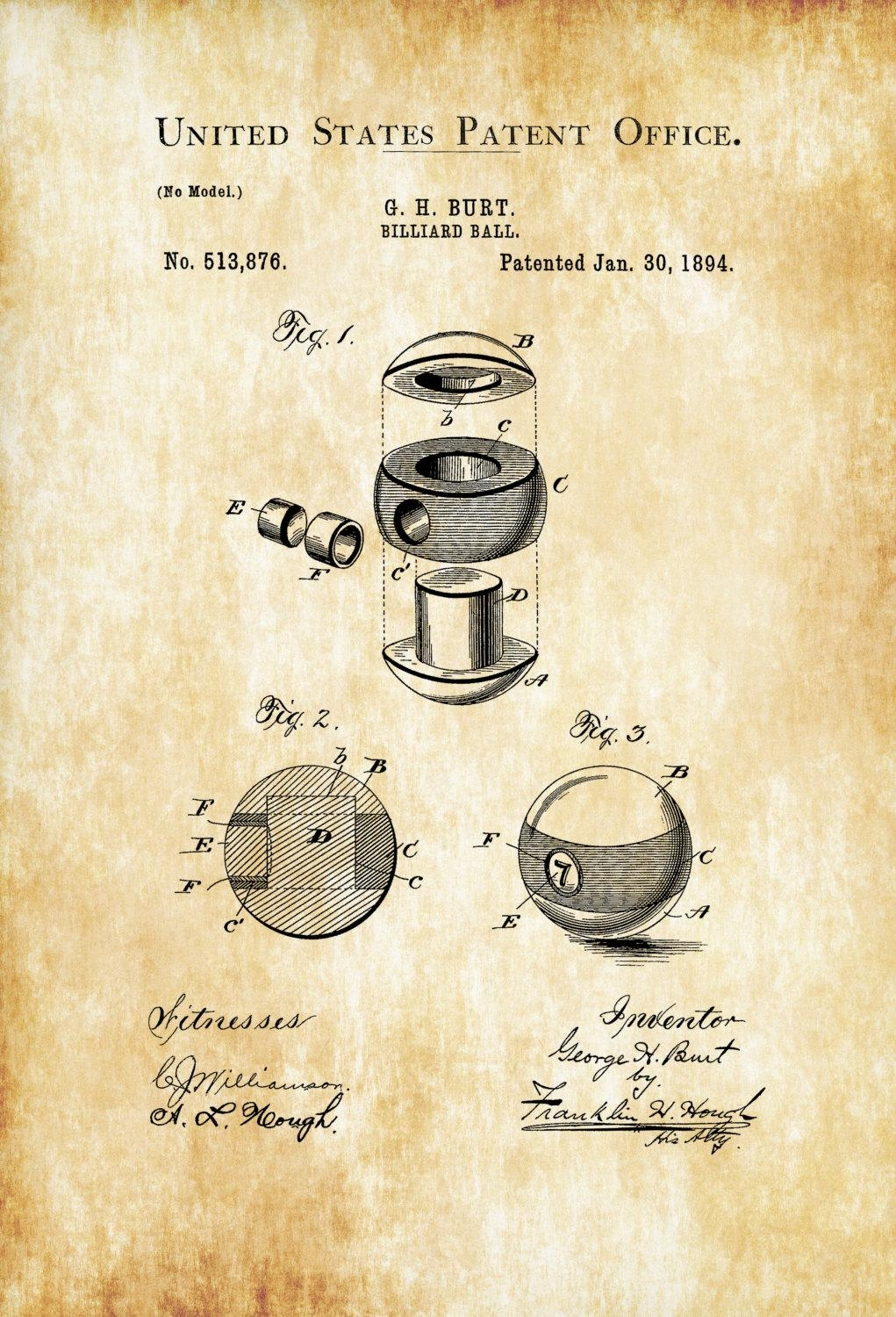 Billiard Ball Patent 1894 – Patent Print, Wall Decor, Pool Table Pertaining To Billiard Wall Art (Image 4 of 20)