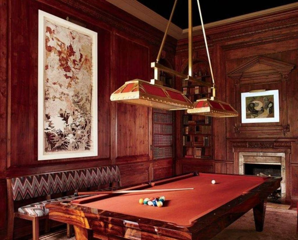 Billiard Room With Wooden Wall Cladding And Velvet Tufted Chair Pertaining To Billiard Wall Art (Image 5 of 20)