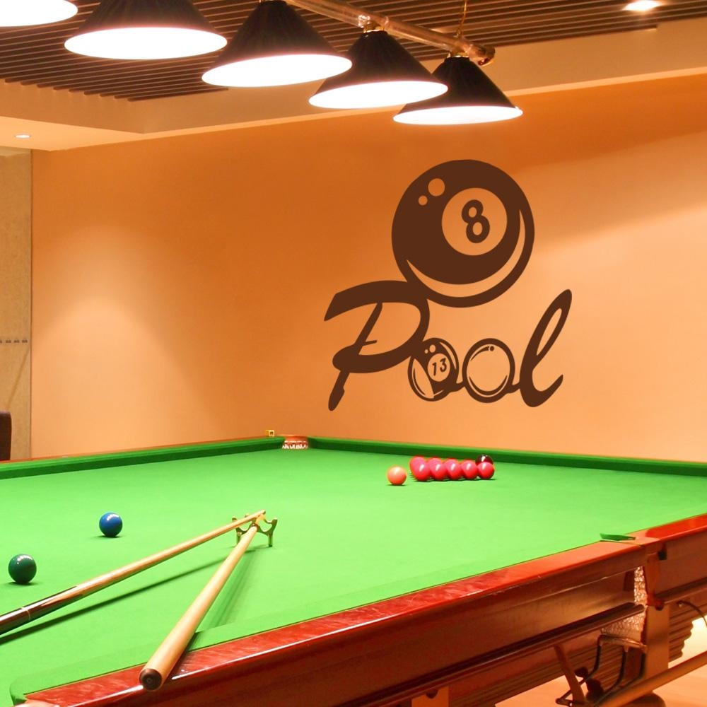 Billiards Wall Decal Vinyl Art Sticker Pool Wall Decal Playroom Inside Billiard Wall Art (Image 7 of 20)