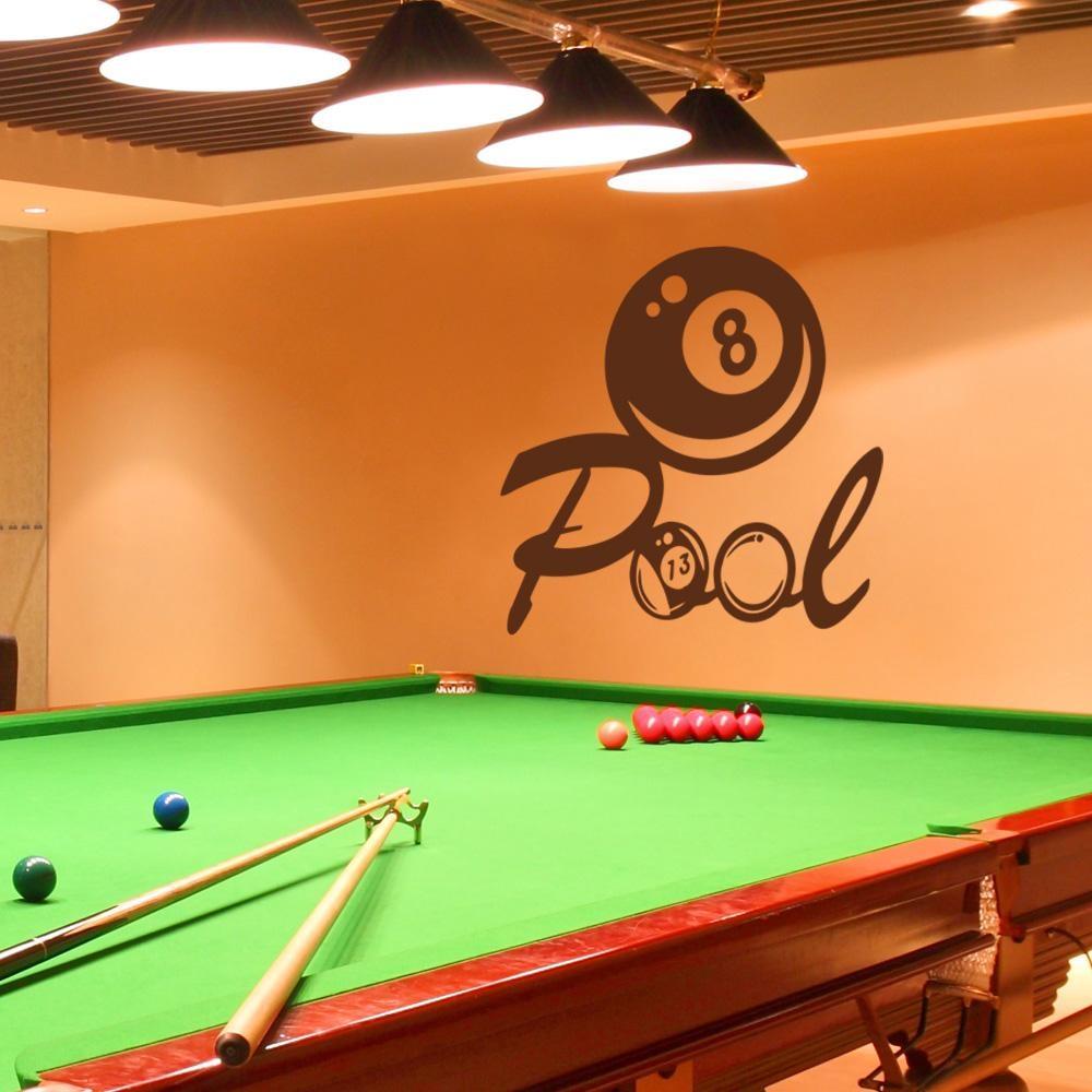 Billiards Wall Decal Vinyl Art Sticker Pool Wall Decal Playroom Inside Billiard Wall Art (View 4 of 20)