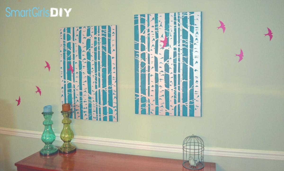 Bird And Birch Stencil Wall Art In Stencil Wall Art (Image 3 of 20)
