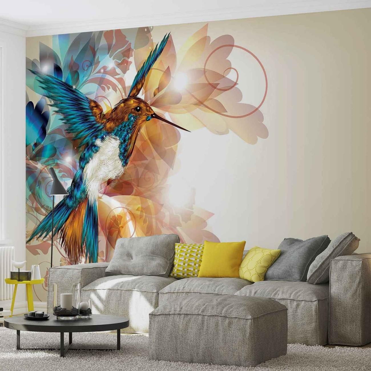 Birds Hummingbirds Flowers Abstract Wall Paper Mural | Buy At With Abstract Art Wall Murals (Image 4 of 20)