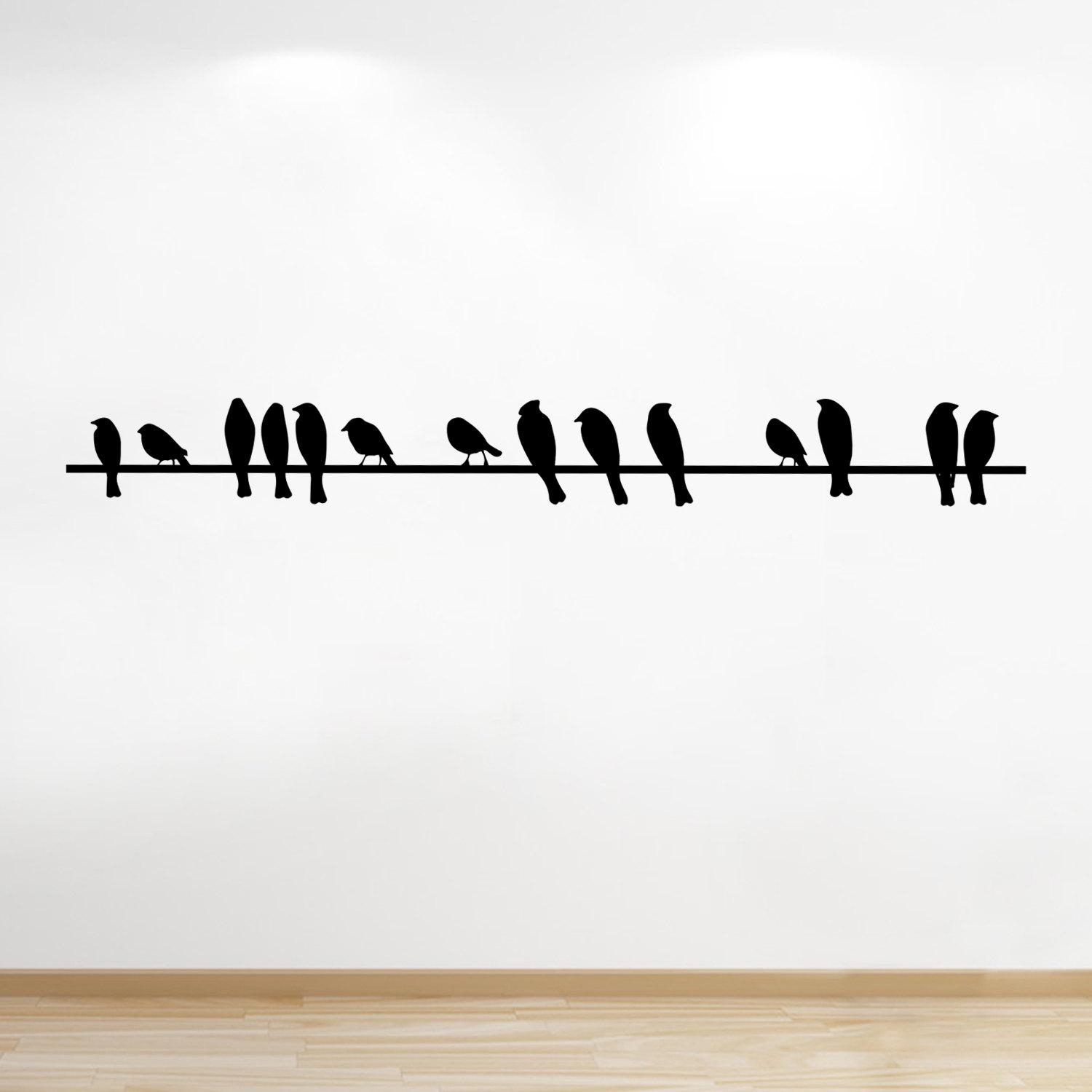 Birds On A Wire Vinyl Wall Sticker, Birds, Living Room, Wall In Birds On A Wire Wall Art (Image 5 of 20)
