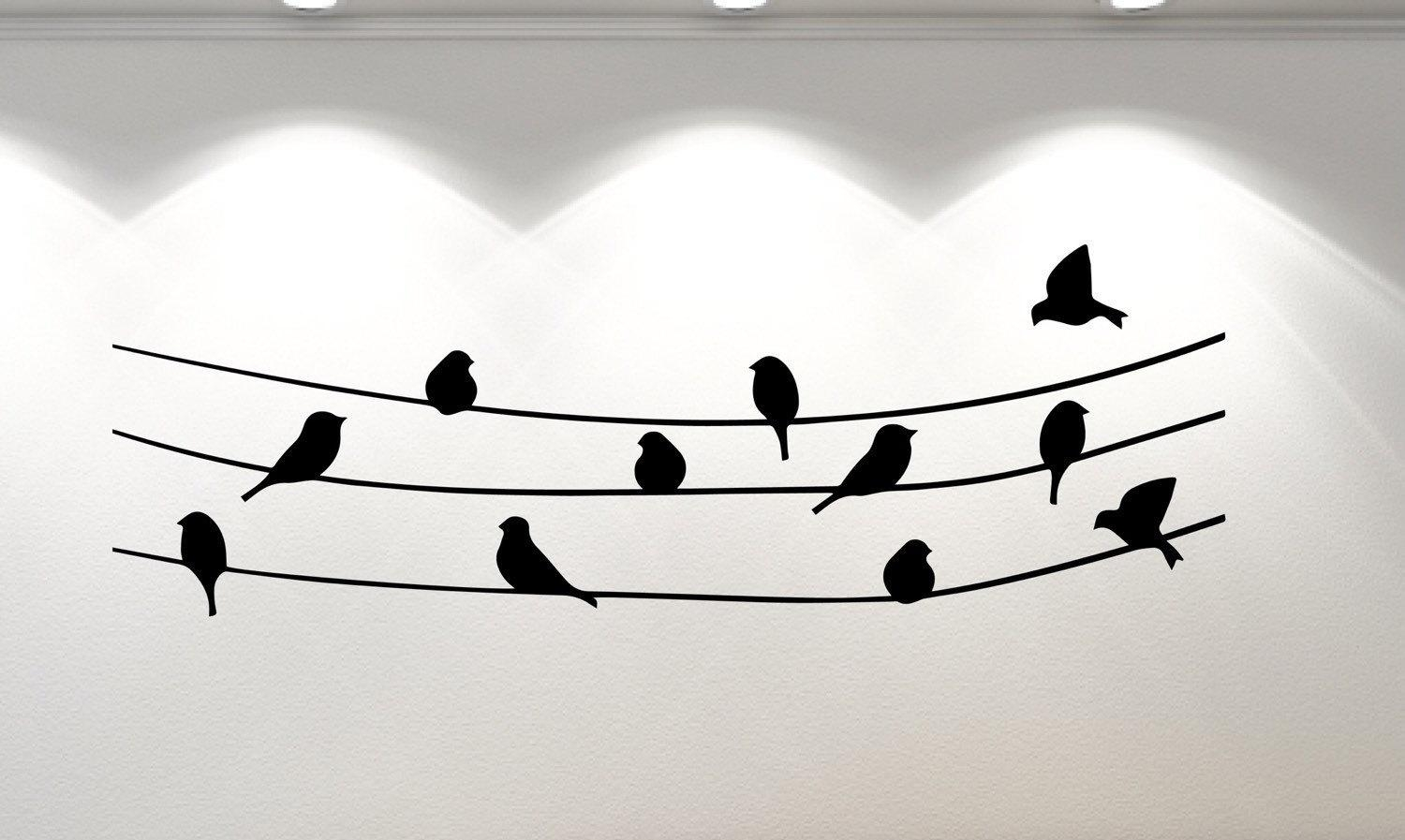 Birds On A Wire Wall Sticker | Stunning Bird Wall Stickers | Wall Art Pertaining To Birds On A Wire Wall Art (Image 8 of 20)