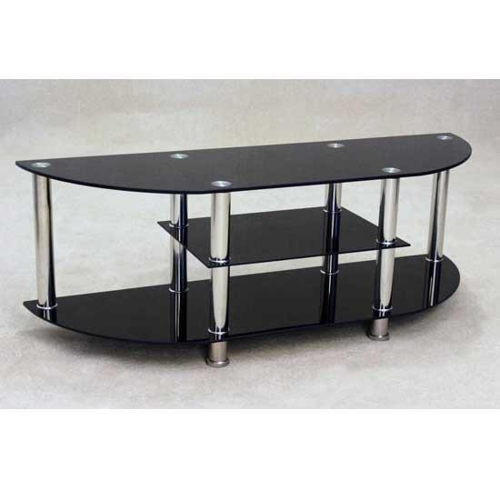 Bizet Black Glass Tv Stand 17558 Furniture In Fashion Inside Most Popular Oval Glass Tv Stands (Image 3 of 20)