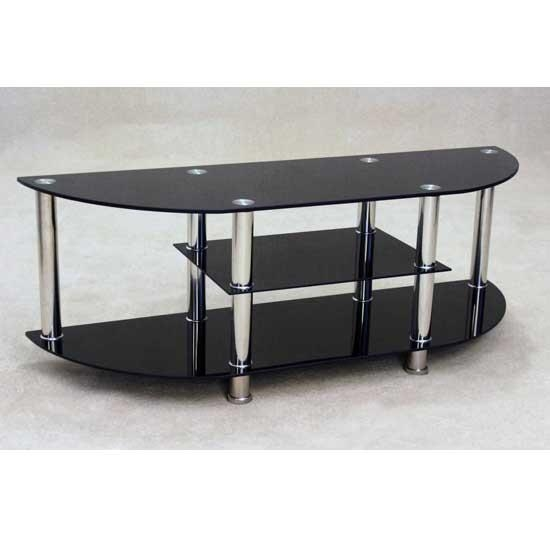 Bizet Black Glass Tv Stand 17558 Furniture In Fashion Within Best And Newest Black Glass Tv Cabinet (View 4 of 20)