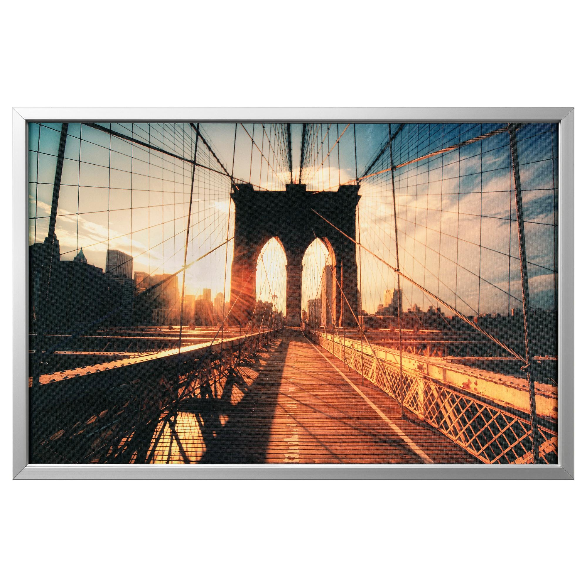 Björksta Picture With Frame Brooklyn Bridge At Sunset/aluminium Throughout Ikea Brooklyn Bridge Wall Art (Image 11 of 20)