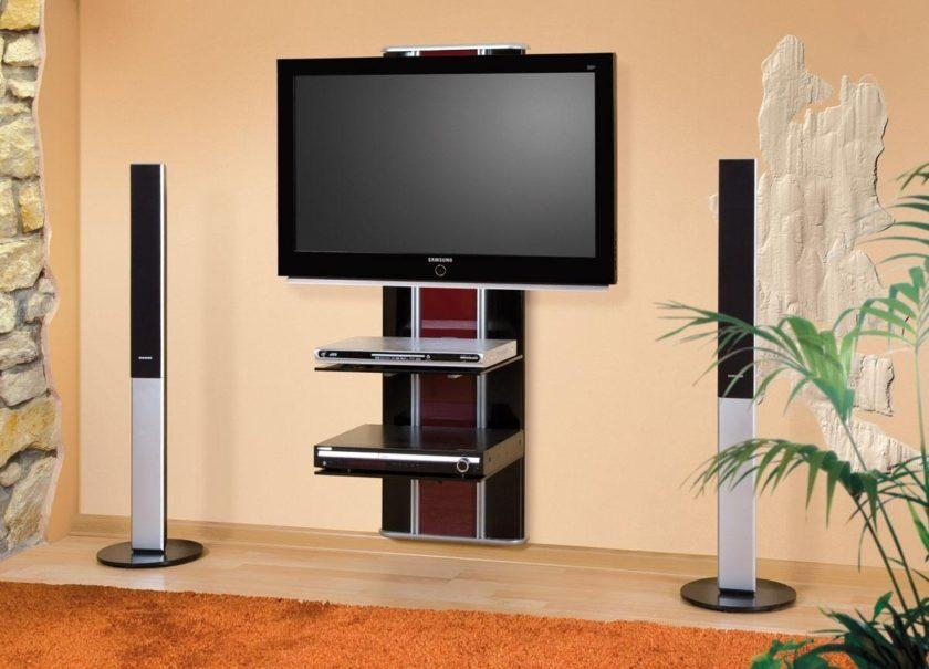 Black And Brown Acrylic Wall Mounted Tv Stand With Two Tier Inside Newest Cream Color Tv Stands (Image 10 of 20)