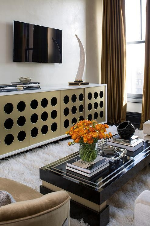 Black And Gold Living Room With Gold Curtains – Contemporary Pertaining To Best And Newest Gold Tv Cabinets (Image 5 of 20)