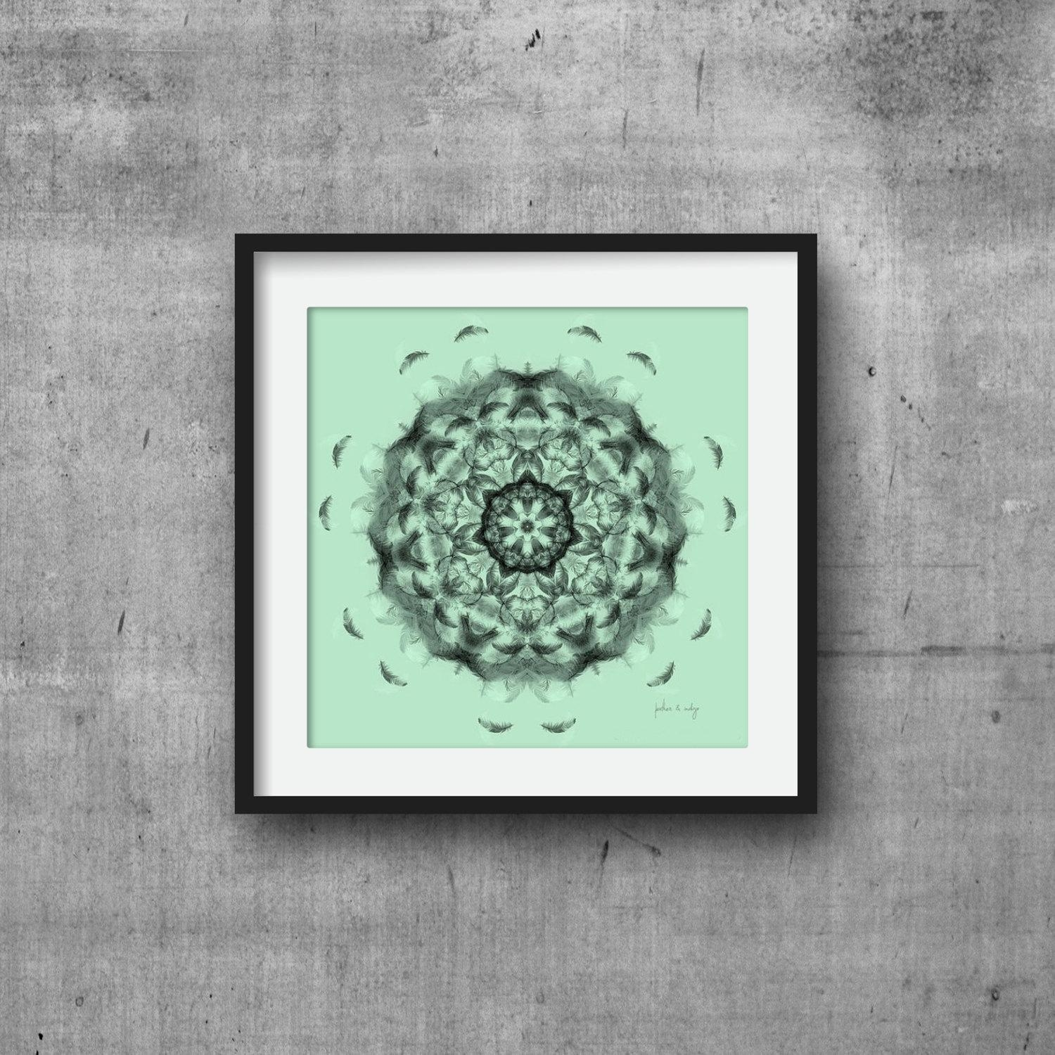 Black And Mint Green Wall Art Print Mandala Print Geometric With Regard To Wall Art For Green Walls (View 20 of 20)