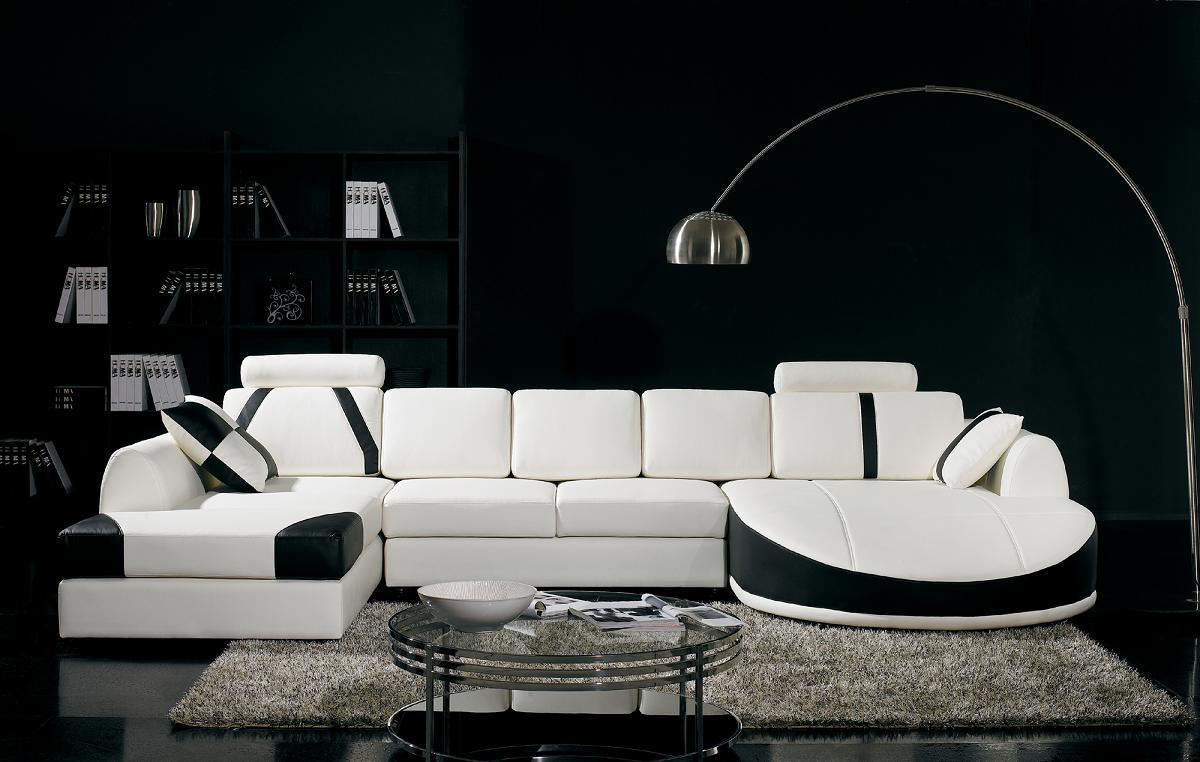 Black And White Living Room Interior Design Ideas Regarding White And Black Sofas (Image 10 of 21)
