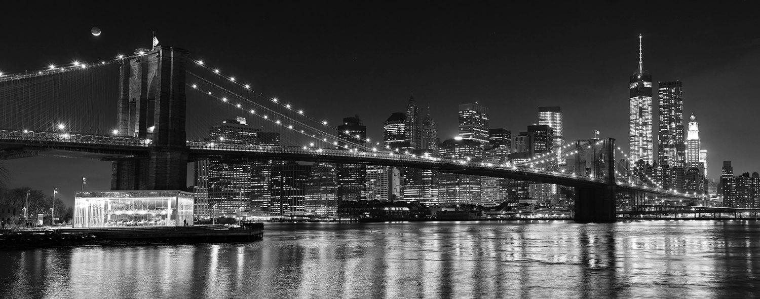 Black And White Nyc Photography Brooklyn Bridge Panorama New Regarding Metal Wall Art New York City Skyline (Image 4 of 20)