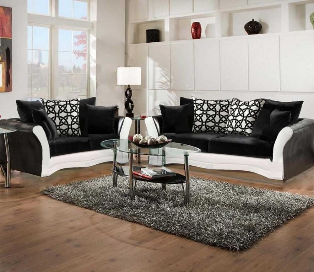 Black And White Sofa And Love Living Room Set | 8000 Black And For White And Black Sofas (Image 11 of 21)