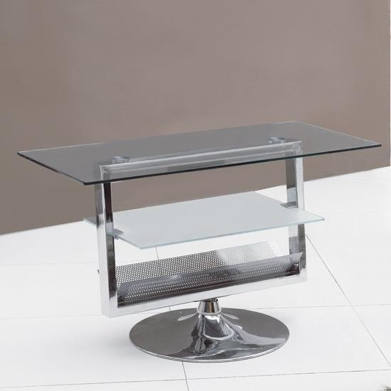 Black & Clear Glass Chrome Rotating Tv Stand Unit – Kk Furniture Regarding Most Current Swivel Black Glass Tv Stands (Image 14 of 20)