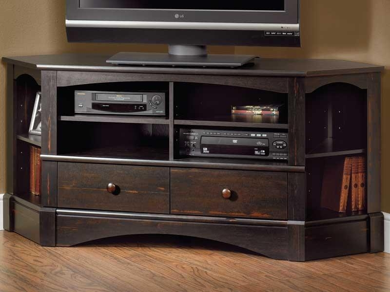 Black Corner Tv Stand Throughout Best And Newest Corner Tv Stands (Image 8 of 20)