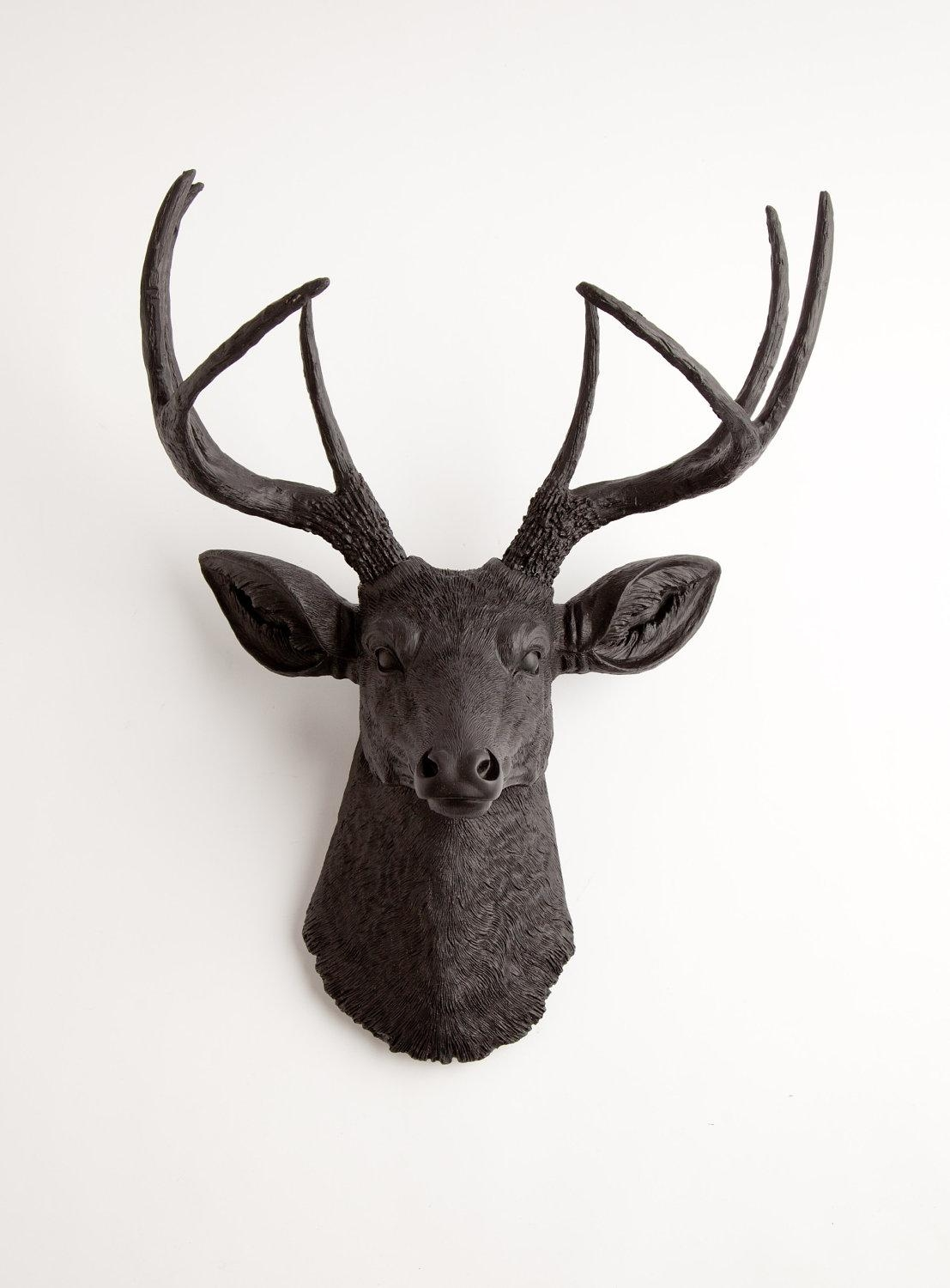 Black Faux Deer Head Wall Mount The Ignatiuswhite Faux For Resin Animal Heads Wall Art (Image 3 of 20)